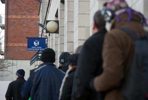 In total, there were 169,100 people registered as unemployed last month, a reduction of 29,800 compared to a year previously. (Stock picture)