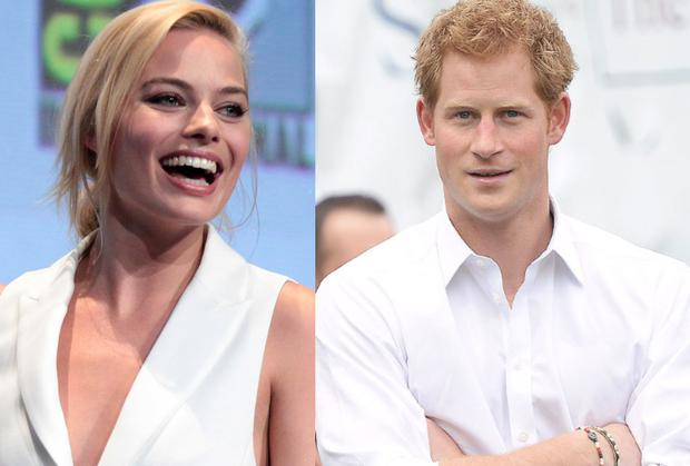 Margot Robbie, left, and Prince Harry, right