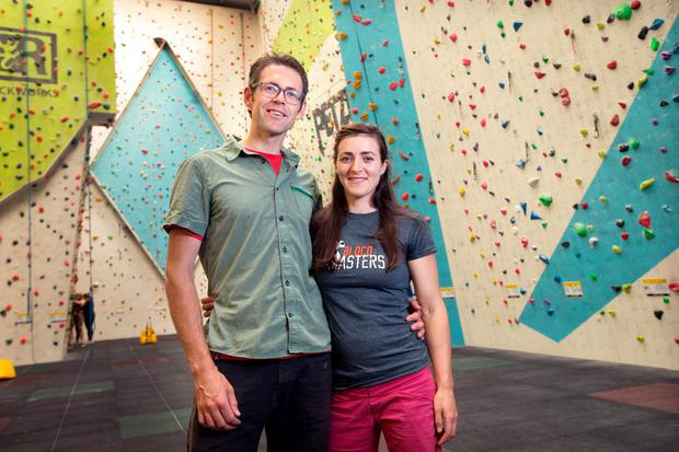 Dave Ayton and Caroline Harney-Dayton in their Awesome Walls climbing centre in Finglas. Photo: Tony Gavin