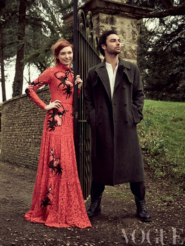 Aidan Turner and Eleanor Tomlinson in British Vogue.