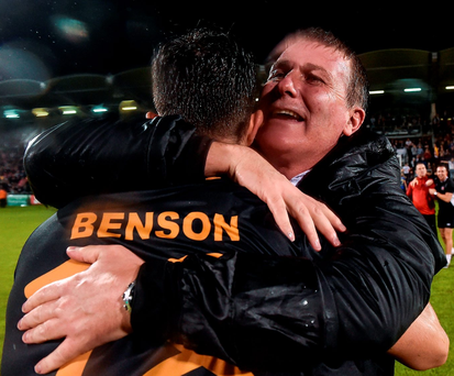 Dundalk manager Stephen Kenny celebrates with Robbie Benson. Photo: David Maher/Sportsfile
