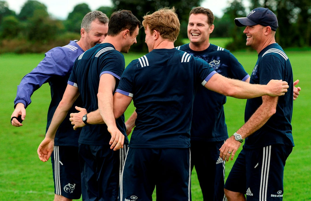 Erasmus with his Munster management team of Anthony Foley, Felix Jones, Jerry Flannery and Jacques Nienaber Photo: Diarmuid Greene/Sportsfile