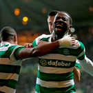 Celtic's Moussa Dembele celebrates scoring his side's second goal from a penalty during the UEFA Champions League, Third Qualifying Round. Jane Barlow/PA Wire