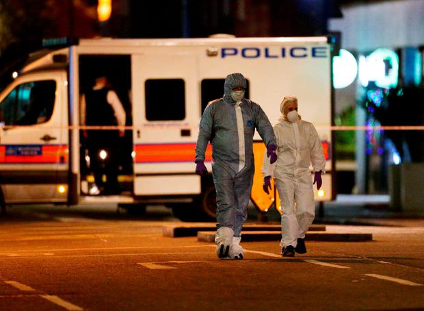 Police activity in Russell Square, central London, after a knife attack in which a woman in her 60s was killed and five people were injured