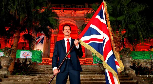 Tennis player Andy Murray of Great Britain is announced as the flag bearer for Team GB during an Athletes Reception at British House during the Rio 2016 Olympic Games