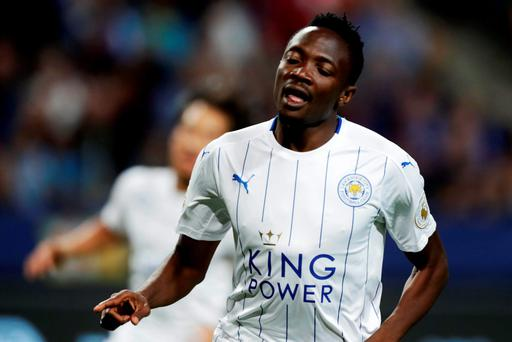 Ahmed Musa of Leicester City FC celebrates after scoring to 1-3 during the International Champions Cup match between Leicester City FC and FC Barcelona at Friends arena in Solna, Sweden. (Photo by Nils Petter Nilsson/Ombrello/Getty Images)