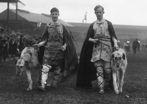 Tailteann Games, Aonach Tailteann. Athletes Games - Army Officers dressed in mythical outfits. Croke Park, August 1924. (Part of the Independent Newspapers Ireland/NLI Collection)