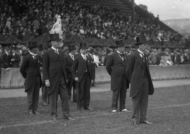 W.B. Yeats with Mr. J.J. Walsh, the Director of the Aonach Tailteann at the opening of the 1924 Tailteann Games. (Part of the Independent Newspapers Ireland/NLI Collection)