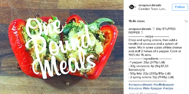 Stuffed pepper recipe for less than €1.20. Instagram: One Pound Meals