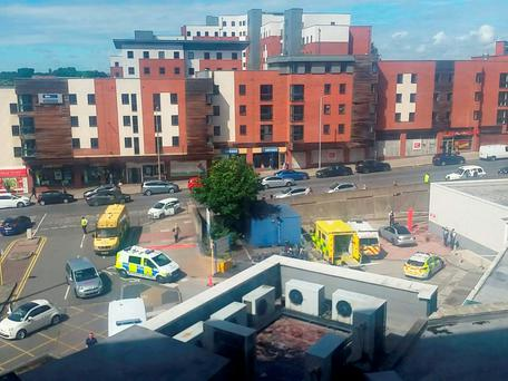 Ambulances and police cars at the Royal Liverpool University Hospital, where a 26-year-old man is in a