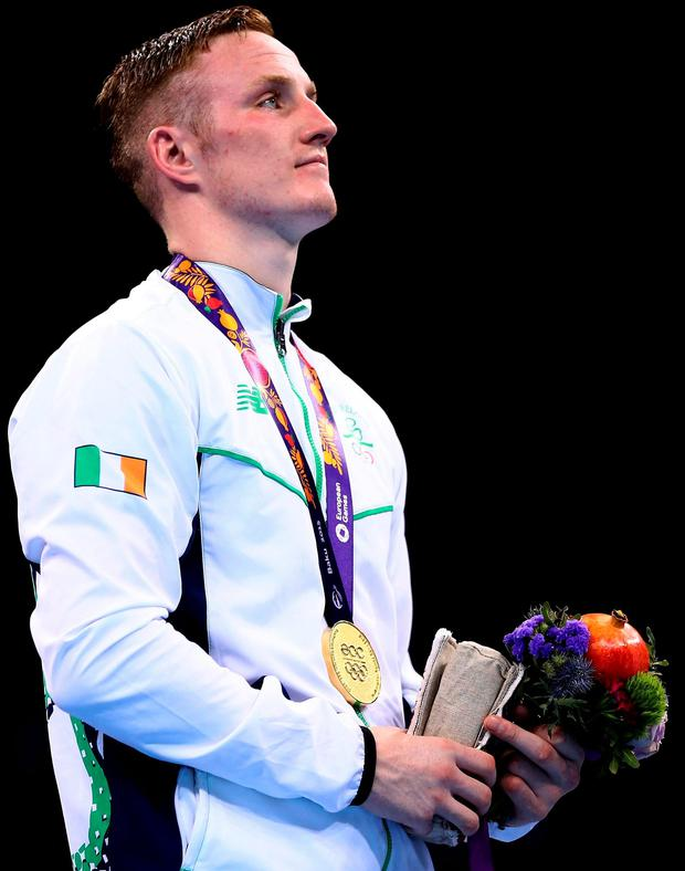 O'Reilly with the gold medal he won at the 2015 European Games. Photo: Richard Heathcote/Getty Images