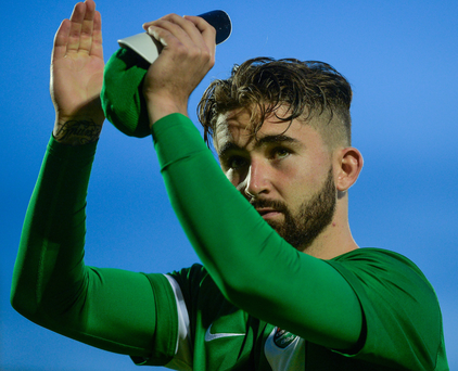 A dejected Sean Maguire of Cork City applauds supporters after their Europa League Third Qualifying Round loss to KRC Genk at Turners Cross. Photo by Eóin Noonan/Sportsfile