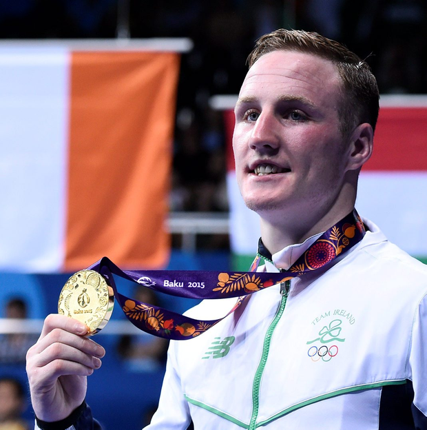 Ireland's Michael O'Reilly poses with his gold medal after winning the men's middleweight event at the European Games in Baku in June 2015. Photo: Tobias Schwarz/AFP/Getty Images
