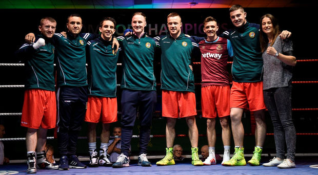The eight Irish boxers who qualified for Rio, from left, Paddy Barnes, David Joyce, Michael Conlan, Michael O'Reilly, Steven Donnelly, Brendan Irvine, Joe Ward, and Katie Taylor, at the National Stadium last month. O'Reilly's Games look to be over after yesterday's news about his positive drugs test. Photo: Paul Mohan/Sportsfile