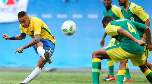 Neymar has an unsuccessful effort on goal during Brazil's 0-0 Olympic draw with South Africa Getty