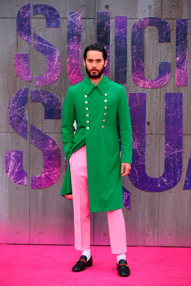 US actor Jared Leto poses as he arrives to attend the European premiere of the film Suicide Squad in central London
