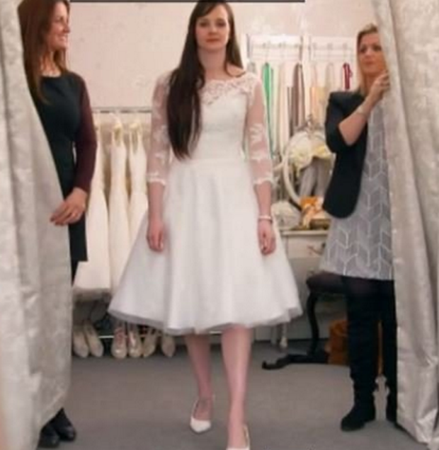 Holly was unimpressed with her dress. Photo: Sky One