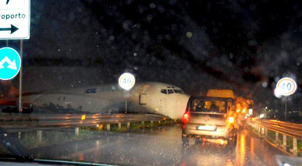 The plane after overshooting the runway Credit: @MarcoMauriPude/Twitter