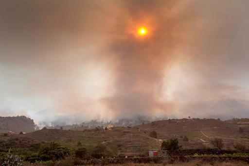 Smoke rises from a wildfire raging on the outskirts of the town of El Paso on the Spanish canary island of La Palma on August 4, 2016