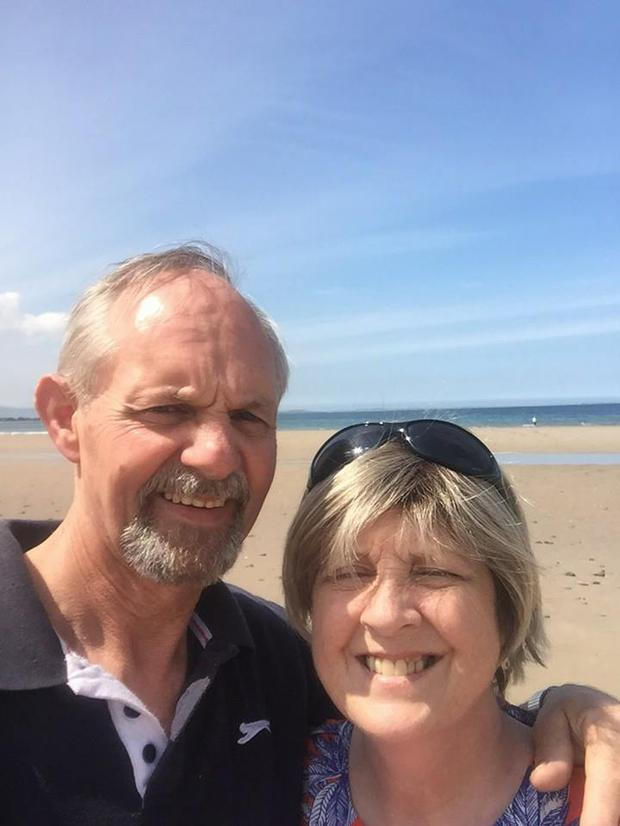 Anne Herlihy pictured with her husband on Inch beach