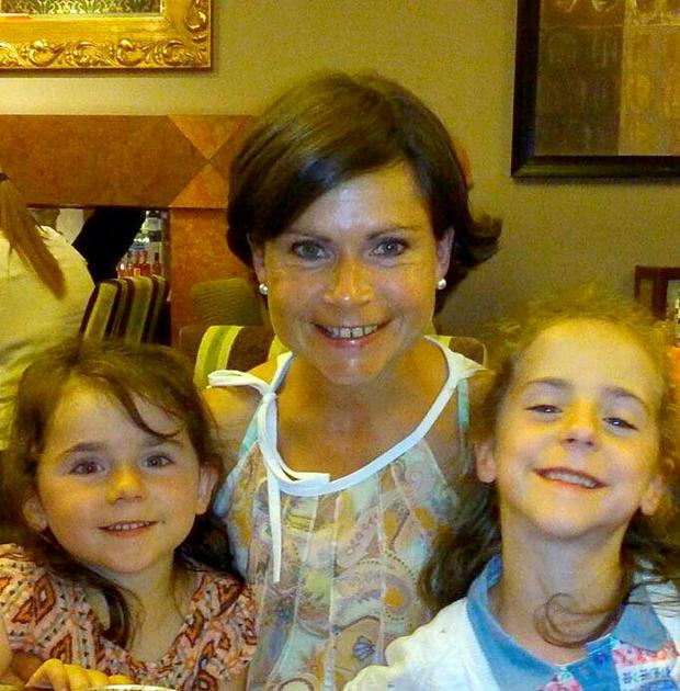 Collect pic of Jessica Needham 8 yrs who was killed on Tuesday by a tractor on her family farm...pic shows Jessica Riught with her Mum Michelle & younger sister Grace Left.......