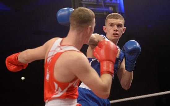 Conor Wallace exchanges punches with Michael OReilly during their 75kg bout at the IABA Elite Boxing Championship Finals. Picture credit: Piaras Ó Mídheach / SPORTSFILE