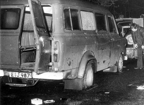File photo dated 05/01/76 of a bullet-riddled minibus near Whitecross in South Armagh where ten Protestant workmen were shot dead. Photo: PA Wire