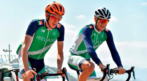 Irish cyclists Dan Martin and Nicolas Roche during a training ride ahead of the start of the 2016 Rio Summer Olympic Games in Rio de Janeiro, Brazil. Photo by Stephen McCarthy/Sportsfile