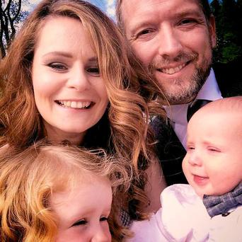 Soren Buchtrup and his family during happier times. Wife Yvonne, from Limerick, and their daughter Ella (left) died in a car crash. Baby Noah survived.