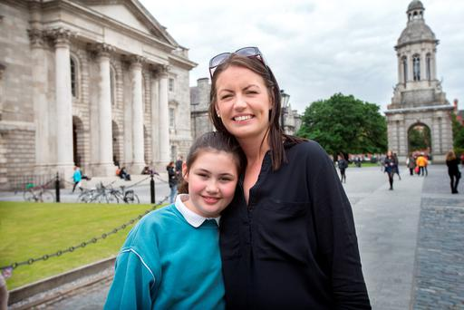 Erica Fleming and daughter Emily (9) in Trinity College. Photo: Tony Gavin