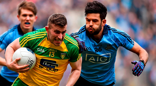 Donegal's Patrick McBrearty in action against Dublin's Cian O'Sullivan earlier this year. Photo: Sportsfile