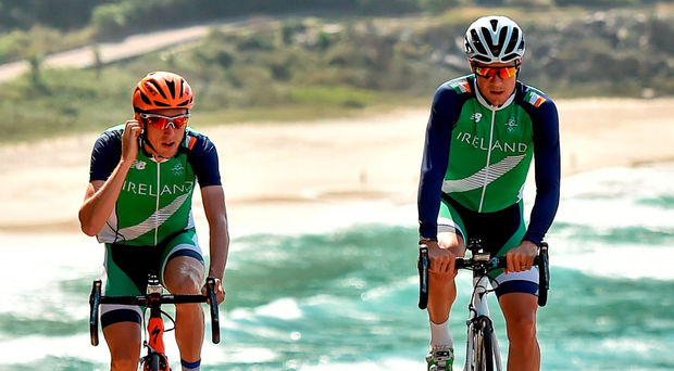Cousins Dan Martin, left, and Nicolas Roche during a training ride on the Olympic course near Rio de Janeiro ahead of today's road race. Photo: Sportsfile