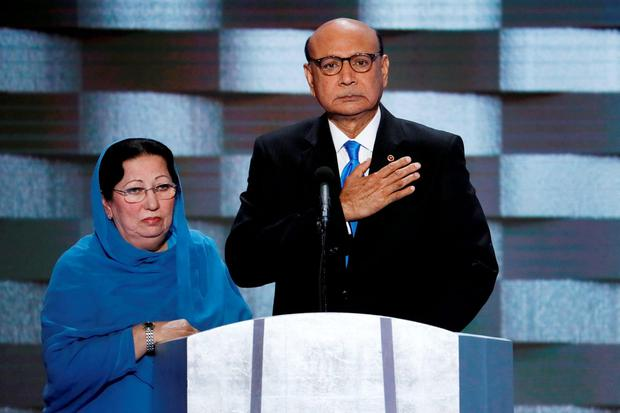 Khizr Khan, father of fallen US Army Captain Humayun Khan, and his wife Ghazala at the Democratic National Convention. Photo: AP