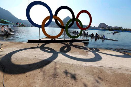 Olympic rings are pictured during training.