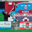 Vinny Faherty of Galway United celebrates after scoring his side's first during the SSE Airtricity League Premier Division match between Galway United and Dundalk at Eamonn Deasy Park in Galway. Photo by David Maher/Sportsfile