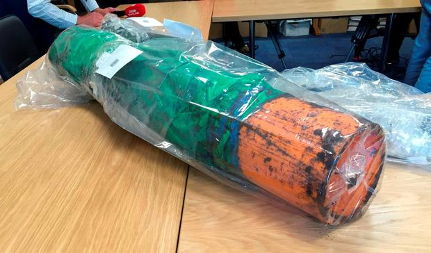 An item recovered from a dissident republican weapons hide which was discovered by police in Northern Ireland. Photo credit: Michael McHugh/PA Wire