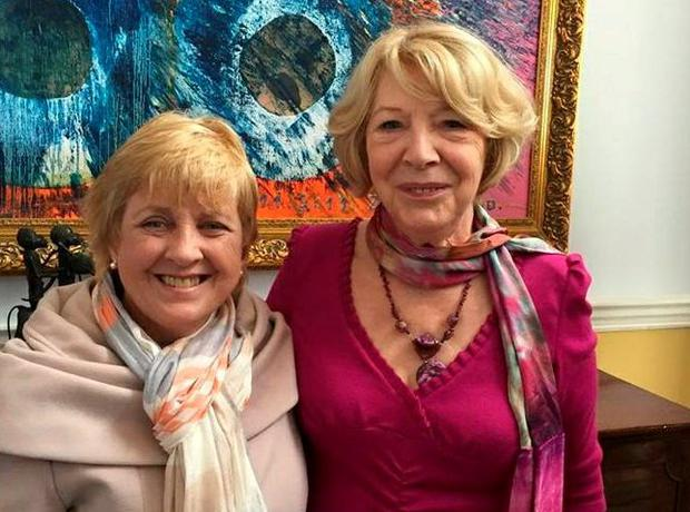 Anne Herlihy, who refuses to let her cancer get her down, with Sabina Higgins