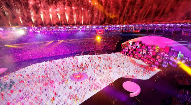 Fireworks explode during the opening ceremony. REUTERS