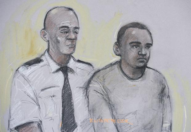 Court artist sketch by Elizabeth Cook of Zakaria Bulhan (right) appearing at Westminster Magistrates Court in London PRESS ASSOCIATION Photo.