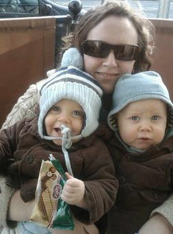 Jeanne Measom pictured with her twin boys Jude and Rowan when they were toddlers.