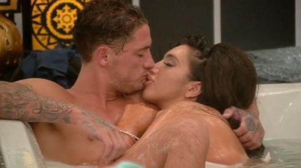 Bear and Chloe frolicked in the hottub on last night's CBB Photo: Channel 5