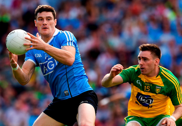 Diarmuid Connolly, who was sent off in the second half, in action here against Martin O'Reilly during Dublin's 1-15 to 1-10 win over Donegal in Croke Park last night. Photo: Ray McManus/Sportsfile