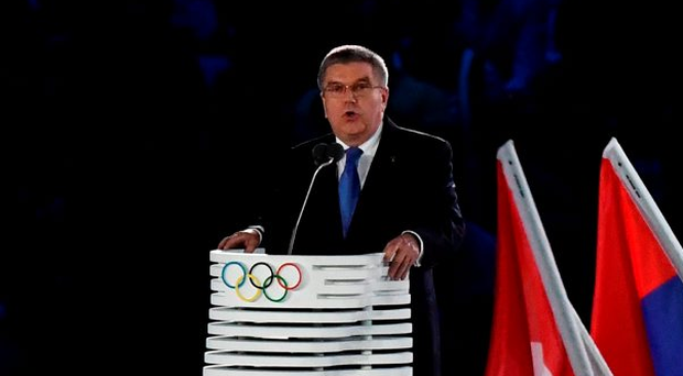IOC president Thomas Bach speaks during Friday night's opening ceremony. Photo: Franck Fifefranck