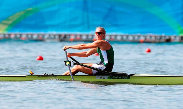 Ireland's Sanita Pusspure during the women's singles sculls at the Lagoa Stadium. Photo: Martin Rickett/PA Wire