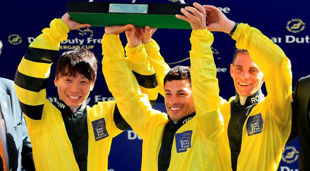 Kenichi Ikezoe (left), Silvestre De Sousa and Gavin Lerena. Photo: Nigel French/PA Wire.