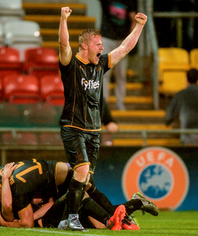 Daryl Horgan of Dundalk celebrates his team's third goa'. Photo: Sportsfile