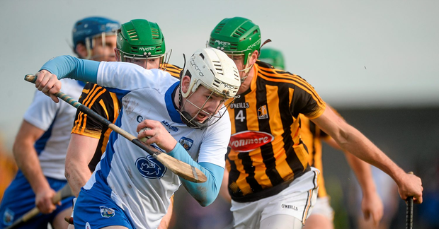 Shane Bennett, Waterford, in action against Kilkenny's Shane Prendergast and Diarmuid Cody