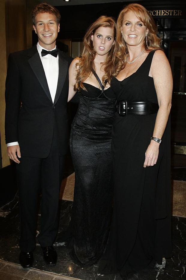 Princess Beatrice pictured with David Clark (32) when they first began going out in 2006. Here they are pictured with Beatice's mum Sarah Ferguson