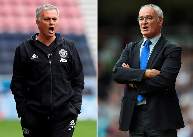 Manchester United manager Jose Mourinho (L) and Leicester manager Claudio Ranieri
