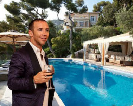 The Villa Egerton pool and house in the background. Inset: Michael Maye at a charity dinner.